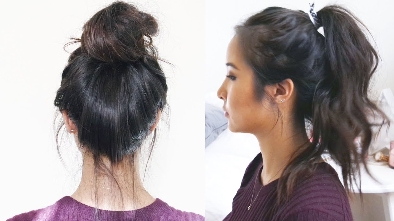 How to Wavy Ponytail Messy Bun