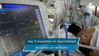 Mientras que en mayo se reportaban seis con alta ocupación, actualmente hay 14 sin disponibilidad de camas con ventilador y 11 que no tienen espacios para más pacientes en camas generales