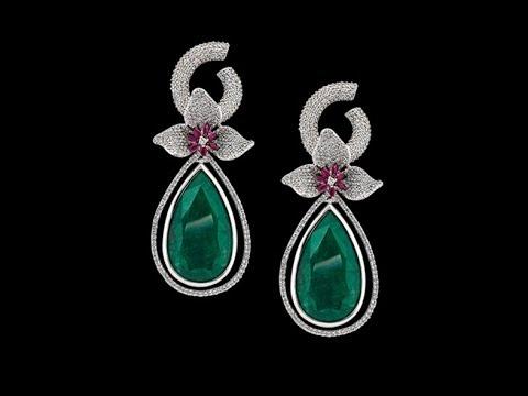 Beautiful Emerald Earrings Designs ||  new model Green emarald  and Diamond Earrings