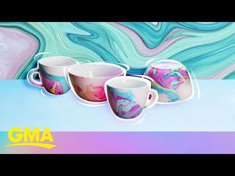 How to make a water marble kitchen set | GMA Digital