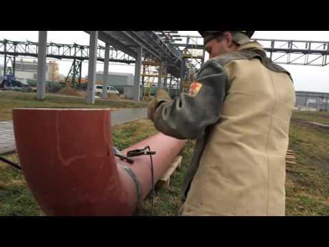 Сварка газовой 325 трубы.