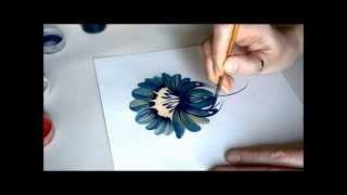 урок Петриковской росписи. поэтапно цветок (Petrikovka Ukraine)