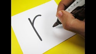 """How to turn Letter """"R"""" into a Cartoon ROSE ! Fun with Alphabets Drawing for kids"""