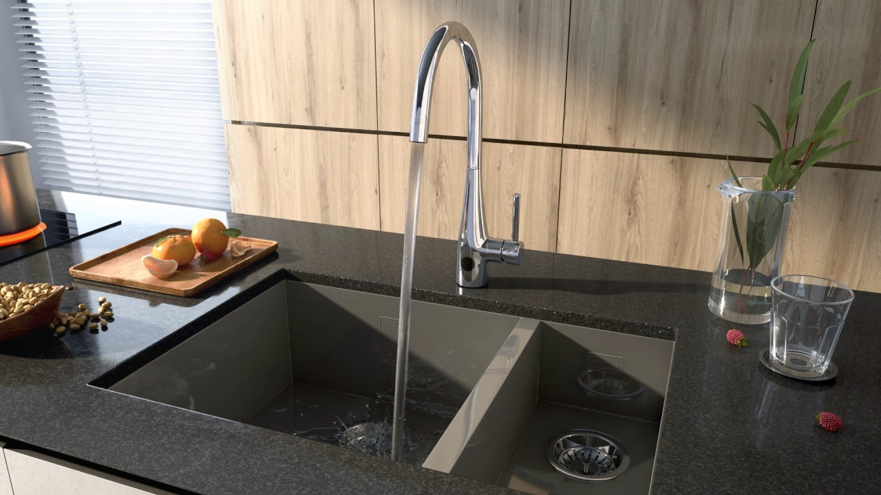 Watch the Crosswater Cook side lever sensor kitchen mixer in action ...