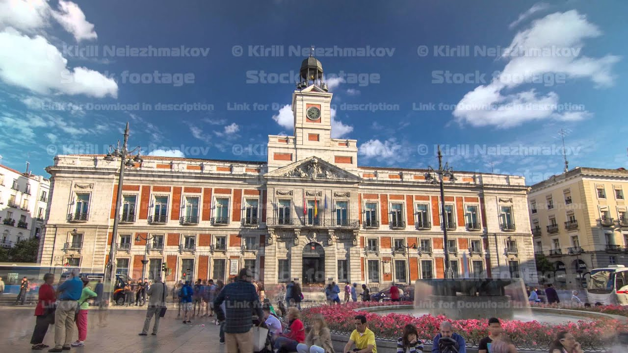 The old post office building timelapse hyperlapse located for Puerta del sol madrid spain