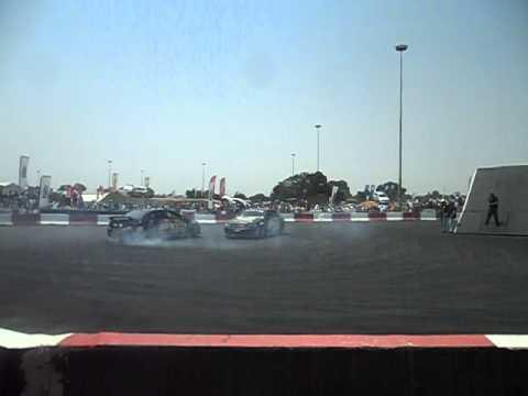 Two Chevrolet Luminas Drifting at the Johannesburg Motor show