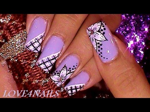 Lavender Nail Art Design Tutorial ❤ - ❤ Lavender Nail Art Design Tutorial ❤ - YouTube