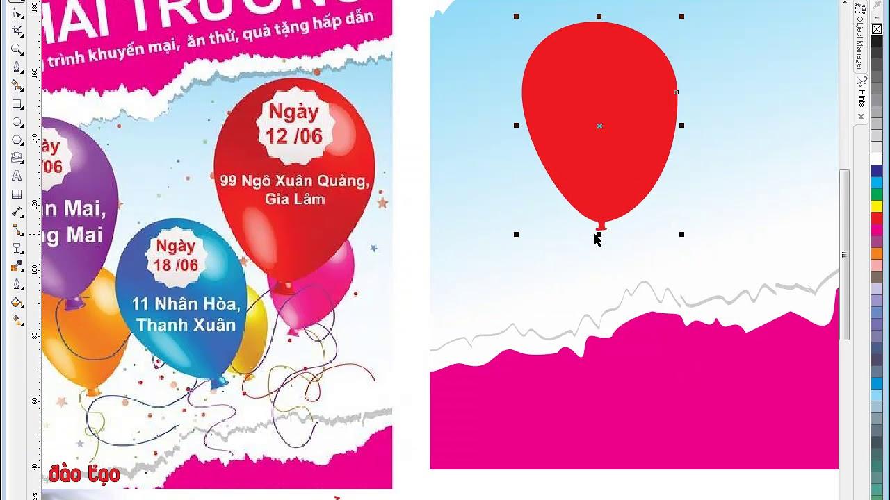 Tạo bong bóng bay bằng phần mềm Corel | Khóa học Corel