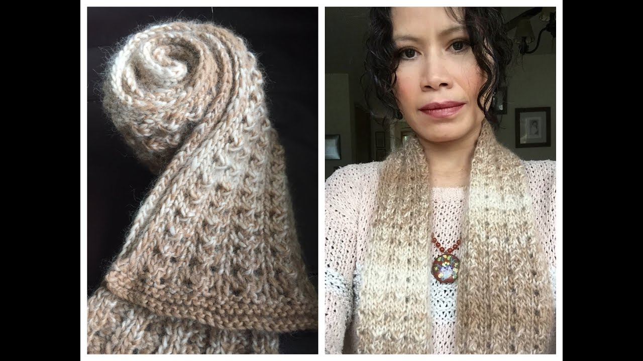 Learn To Knit Easy Lace Scarf From Start To Finish - YouTube