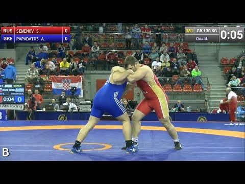 Qualification GR - 130 kg: Sergey SEMENOV (RUS) df. Alexandros PAPADATOS (GRE) by FALL, 4-0