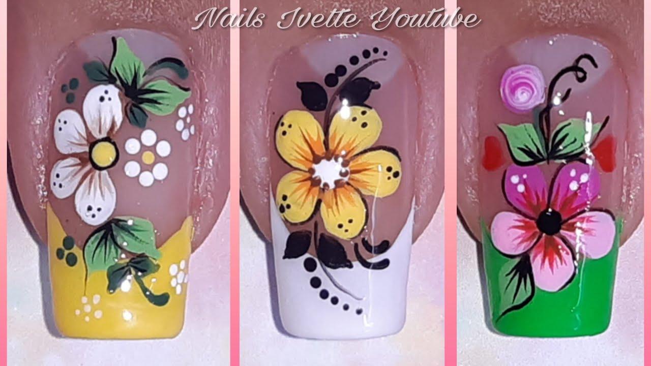 3 Modelos De Uñas Con Floresdecoración De Uñas Floresuñas Decoradas Con Flor