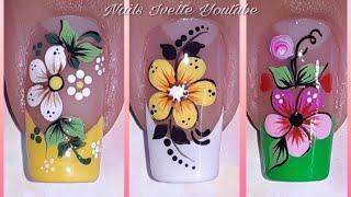 3 modelos de uñas con flores/decoración de uñas flores/uñas decoradas con flor
