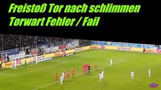 MSV Duisburg  :  Viktoria Köln Freistoßtor zum 2 : 1.  Torwart Panne  Fail