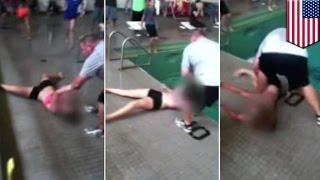 VIDEO: Gym teacher, kinaladkad sa swimming pool ang isang estudyante!