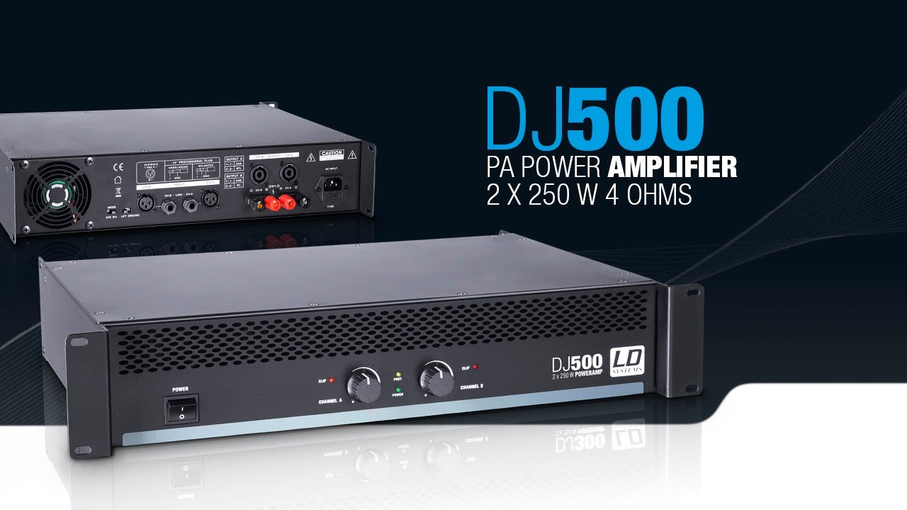 ld systems dj500 pa power amplifier 2 x 250 w 4 ohms youtube. Black Bedroom Furniture Sets. Home Design Ideas