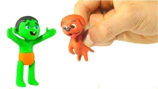 KOMİK ÇOCUKLAR ONLARIN KÖPEK Çocuklar İçin Çizgi film Play Doh ❤ BUL