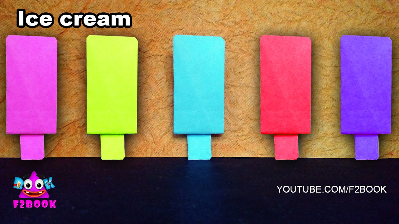 Paper Craft Ideas For Kids Videos Part - 47: How To Make A Paper Ice Cream | Easy Paper Craft For Kids F2BOOK Video 100