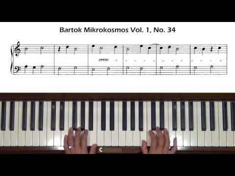 Bartok Mikrokosmos Vol. 1, No. 33 to No. 36 Piano Tutorial