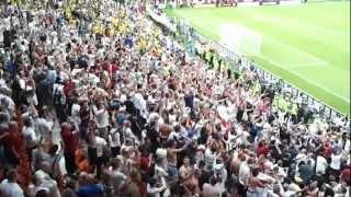 English fans celebrate in Donetsk