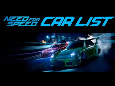 Need For Speed 2015 Car List Part 1