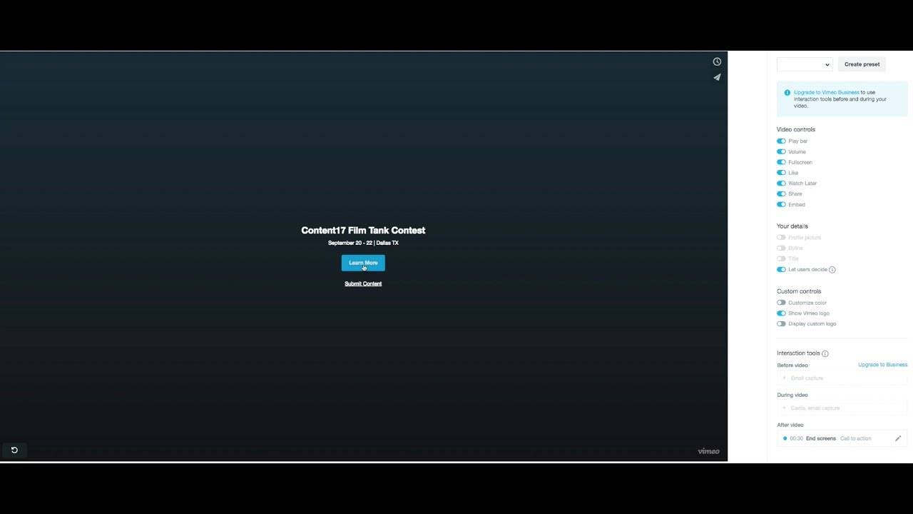 How to add links to your embedded Vimeo video end screen!