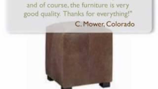 Peyton Designer Style Leather Side Table Ottoman