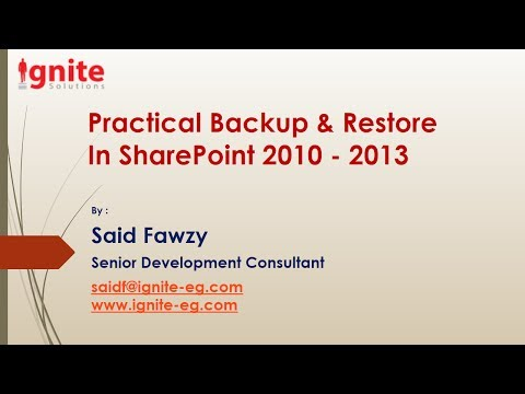 Practical Backup & Restore In SharePoint 2010-2013 -Part II
