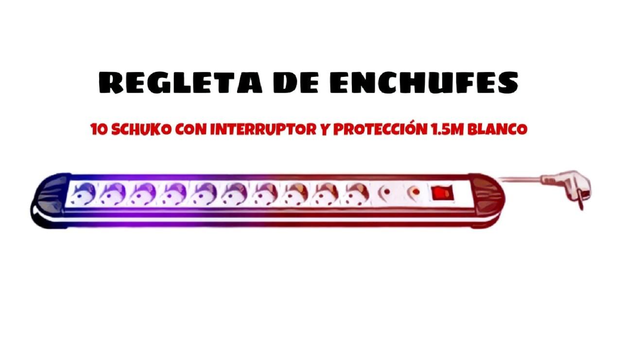 Regleta de enchufes 10 schuko con Interruptor y Proteccion 1.5 Metros Cablepelado