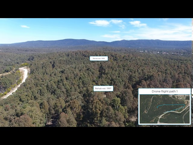 Drone flight path 1 over rehabilitation of the Westside former open cut mine
