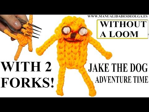 Jake the dog with two forks without Rainbow Loom Tutorial. (Mini Figurine)