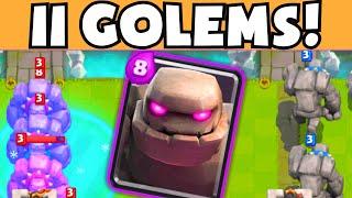 Clash Royale 11 GOLEMS! Funniest / Weirdest Epic Troll Deck Gameplay / Strategy