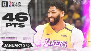 Anthony Davis 46 Points 13 Reb Full Highlights | Pelicans vs Lakers | January 3, 2020