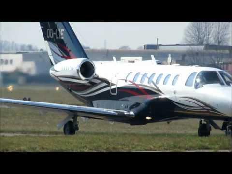 Cessna 525B Citation CJ3  Landing + Taxi  At Kortrijk Wevelgem Airport