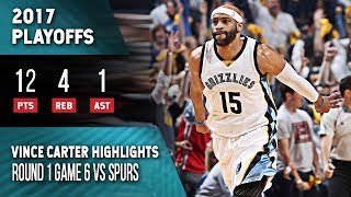 Vince Carter Highlights Playoffs Game 6 Grizzlies vs Spurs (04.27.2017) 12pts, Last Grizzly Game!
