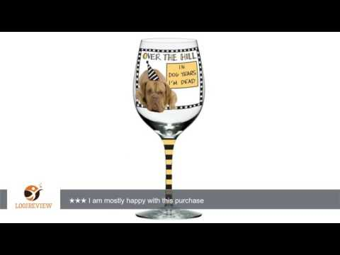 "Enesco Hoots 'N Howlers Over The Hill ""In Dog Years I'm Dead"" Wine Glass, 8.875-Inch 