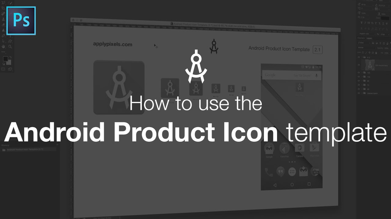 how to use the android product icon template youtube