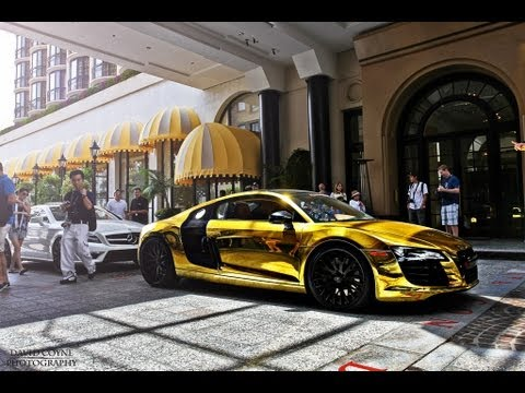 PURE GOLD AUDI R8 - BEVERLY HILLS! - YouTube