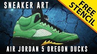 Sneaker Art: Air Jordan 5 Oregon Ducks w/ Downloadable Stencil