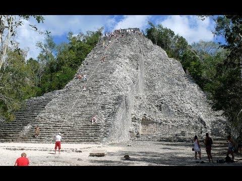Personal Trainer climbs coba mayan ruins pyramid in 33 seconds - Cancun ,Mexico ( Coba Ruins ) 2014