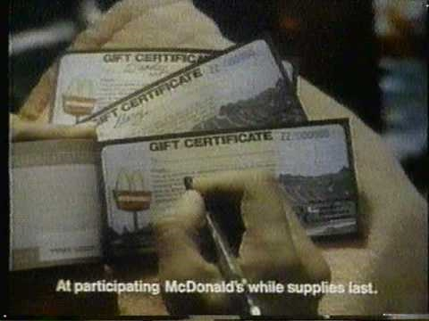 1981 mcdonalds gift certificates holiday commercial. -