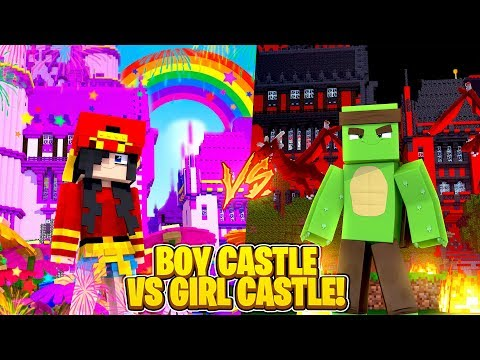Minecraft HOW TO - BOYS CASTLE vs GIRLS CASTLE!!