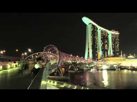 Helix Bridge & Marina Bay Sands Singapore - Time-lapse Video