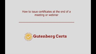 GC Certificates From Meeting