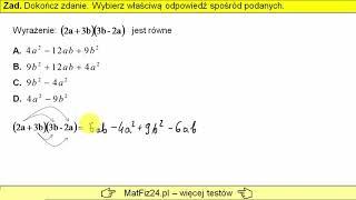 Egzamin Ósmoklasisty 2019 - Zadanie 8. Mnożenie wyrażeń algebraicznych | MatFiz24.PL