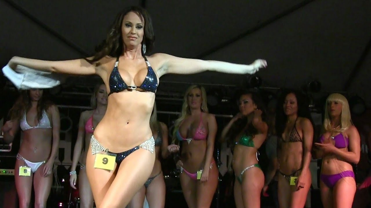 Models posing in bikinis contests