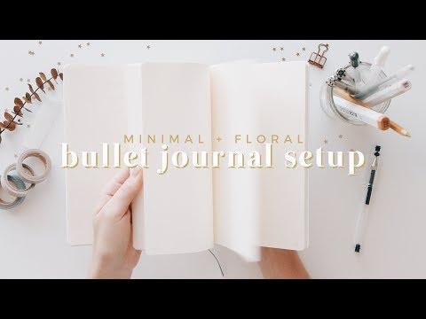 2018 bullet journal setup | minimal + floral