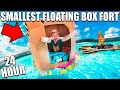 WORLDS SMALLEST BOX FORT BOAT 24 HOUR CHALLENGE 📦🚢Camping, Toys, Pool & More!