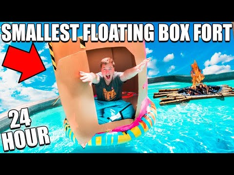 WORLDS SMALLEST BOX FORT BOAT 24 HOUR CHALLENGE Camping, Toys, Pool & More!
