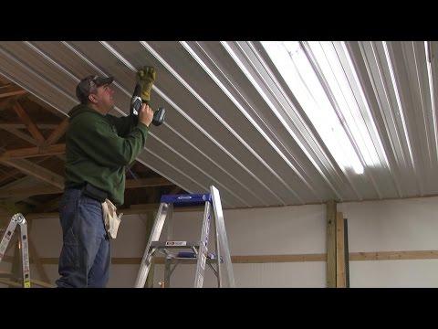 33 Pole Barn Menard S Pro Rib Steel Ceiling Install With Panellift
