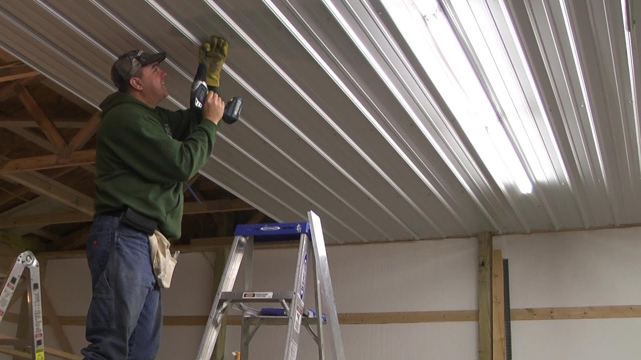 Pole Barn Menard S Pro Rib Steel Ceiling Install With Panellift Drywall Lift You